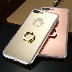Phone Cases For iPhone 7 7 Plus Cover Soft TPU Acrylic Mirror Ring Buckle Capa TPU Plastic Cover For iPhone 7 7 Plus Csae Coque