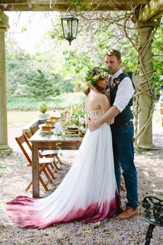 Tied dyed wedding dress