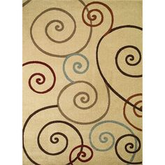 Concord Chelsea Collection Tendrils Polypropylene Rug (6'7 x9'3 ) (Tendrils Ivory 6'7''X9'3''), Size 7' x 9' (Olefin, Print)