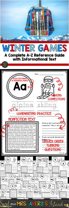 Are your students ready for the Winter Olympics?  If you are looking for some engaging nonfiction texts and activities for your classroom, this packet covers everything from A-Z!  Click on the link to discover the ease of integrating a multitude of standards into your social studies and reading lesson plans and watch your students BRING HOME THE GOLD!