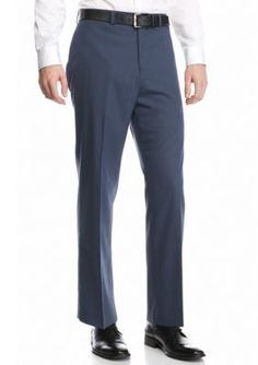 MICHAEL Michael Kors Blue Classic-Fit Flat-Front Dress Pants