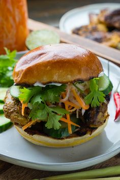 Lemongrass Chicken Banh Mi - Quick and easy lemongrass chicken banh mi sandwiches with plenty of pickled carrots, cucumbers and chilies! Asian Recipes, Healthy Recipes, Ethnic Recipes, Tasty Meals, Lemon Grass Chicken, Banh Mi Sandwich, Leftover Chicken Recipes, Turkey Recipes, Grilled Chicken Thighs