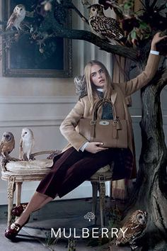 Owl-Filled Fashion Ads - The Mulberry Fall 2013 Campaign Stars an Elegant Cara Delevingne (GALLERY)