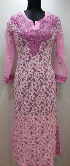 Lucknowi Chikan Kurti Pink Faux Georgette $32.75