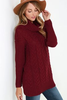 Glamorous Timeless Classic Burgundy Cable Knit Sweater