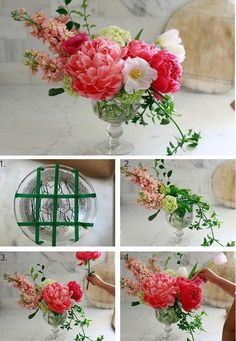 Simple flower arrangement that anyone can do in several minutes! Freshen up the look of a room by starting with this project! Floral arrangements diy Eye-catching Flower Arrangements-Arrange Flowers Like a Pro Table Flower Arrangements, Beautiful Flower Arrangements, Beautiful Flowers, Fresh Flower Arrangement, Silk Flower Centerpieces, Wedding Centerpieces, Wedding Table, Simple Flowers, Faux Flowers