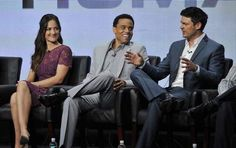 Minka Kelly, left, Michael Ealy, center, and Karl Urban, cast members in the Fox series 'Almost Human,' take part in a panel discussion during the FOX 2013 Summer TCA press tour at the Beverly Hilton Hotel