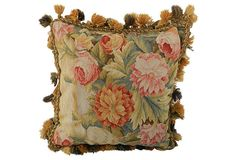 """French Tapestry Pillow - 18"""" x 18"""" - for bed in Guest House Master Bedroom"""