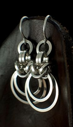 Sterling Silver Woven Earrings  Square Links by unkamengifts, $34.00