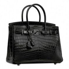 A rare, matte black Niloticus Crocodile So Black Hermes Birkin Hermes Handbags, Luxury Handbags, Fashion Handbags, Purses And Handbags, Fashion Bags, Designer Handbags, Cheap Handbags, Designer Bags, Fashion Fashion