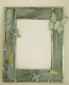 5 by 7 stained glass picture frame cream and gray by wvcrafts, $22.99