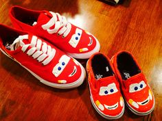 DIY Disney Cars Lightning McQueen shoes. Super easy and a fun way to match your little one!
