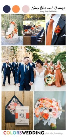 Blue Tux Wedding, Navy Orange Weddings, Orange Wedding Themes, Orange Wedding Flowers, Wedding White, White Bridal, Orange Flowers, Dress Wedding, Wedding Bouquets