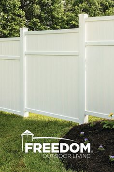 vinyl privacy fence panel for the Brighton style vinyl fence by Freedom Outdoor Living, available at Lowes. Privacy Fence Panels, Patio Privacy, White Vinyl Fence, Fence Art, Horse Fence, Home Security Tips, Design Your Dream House, Outdoor Living, Outdoor Decor