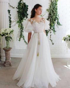 White round neck lace tulle long prom dress white lace evening dress from of girl Lace Evening Dresses, Elegant Dresses, Day Dresses, Pretty Dresses, Beautiful Dresses, Prom Dresses, Dresses With Sleeves, Formal Dresses, Wedding Dresses