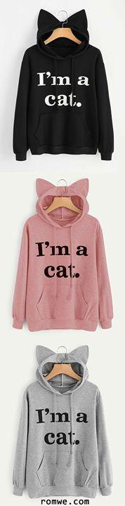 Slogan Print Cat Ear Hoodie -need- Teen Winter Outfits, Fall Outfits, Teenage Outfits, Outfits 2016, Outfit Winter, Teen Fashion, Winter Fashion, Womens Fashion, Cheap Fashion
