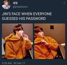 Jin-ah usually does a vlive were he plays online games with fans on his birthday, so he has to create a room so fans can play with him, but as soon as he created it they had already guessed the password to enter the game without him telling it to them Got7 Bambam, K Pop, Jikook, Bts Jin, Bts Bangtan Boy, Shinee, Baekhyun, Play Game Online, Online Games