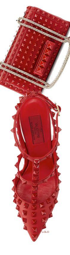 Valentino ~ Allover Rockstud Slingback Red Pump + Va Va Voom Rockstud Red Shoulder Bag, 2014
