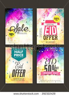 Beautiful poster, banner or flyer design decorated with Islamic elements for Eid Sale with special discount offer.