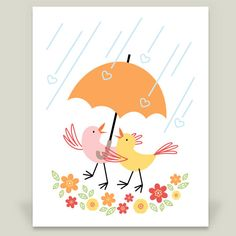 Lovebirds in the Rain by Gina Rollason on BoomBoom Prints