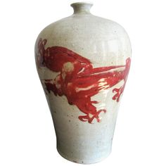 Chinese Red and White Swatow Ware Vessel Asian Furniture, Art Furniture, Modern Ceramics, Decorative Objects, Asian Art, Vintage Shops, Red And White, Pottery, Antiques