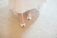 Flat white peep toe sandals. Photography by http://www.mirrorboxphotography.com/