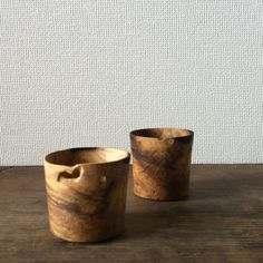 Wood cups by Kawai Masaru. Carved from a block of wood, naturally black spotted and worm eaten!