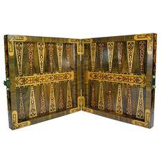 Rare German Walnut Folding Game Box  Exotic  backgammon,ca 1720-30,from  Germany