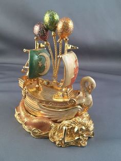 Kirks-Folly-SHIP-OF-DREAMS-Enamel-TRINKET-BOX-w-Mermaid-Dolphins-Seahorse-Swan