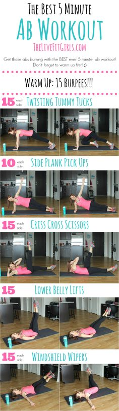 The Best 5 Minute Ab Workout…EVER! Now you have no more excuses! ;)