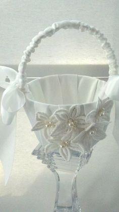 Wedding Flower Girl Basket  Vintage White Lace by MartiMaginnis, $34.50