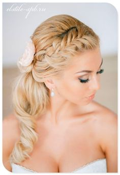 Braided Side Pony Floral Wedding Hairstyle. THIS IS HOW MY HAIR WILL BE DONE!