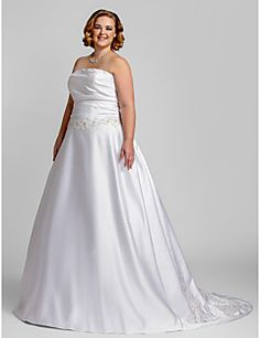 Vestido de Boda - Blanco Corte en A Tribunal - Sin Tirantes Satén Tallas Grandes