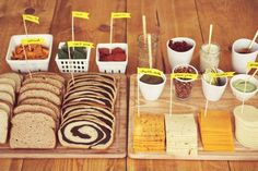 Fancy Grilled Cheese Party Idea: Grill Cheese Bar, Pick Your Own Toppings Sandwich Bar, Roast Beef Sandwich, Burger Bar, Sandwich Station, Wedding Food Bars, Wedding Food Stations, Party Stations, Drink Stations, Wedding Ideas