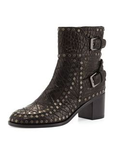 Gatsby Wrinkled Studded Ankle Boot, Black/Ruthenium by Laurence Dacade at Bergdorf Goodman.