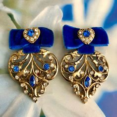 467284092 Vintage Gold Tone Filigree Blue Velvet Ribbon Rhinestone Heart Earrings  Large Oversized Massive Big