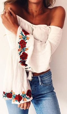 $50 Cute Casual Summer Off The Shoulder White Blouse With Multicoloured Floral Arm Detailing And Cool Low Waisted Denim Jeans
