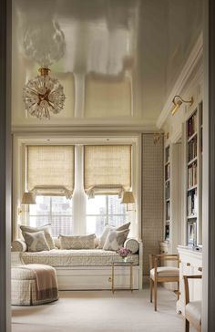 Library Window Seat - John B. Murray Architect, Totally digging the white lacquered ceiling
