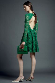 Celebrities who wear, use, or own Valentino Resort 2013 Lace Open-Back Dress. Also discover the movies, TV shows, and events associated with Valentino Resort 2013 Lace Open-Back Dress. Green Lace Dresses, Green Dress, Sexy Dresses, Backless Dresses, Fashion Week, Love Fashion, Fashion Show, Paris Fashion, Review Fashion