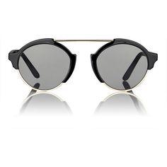 Illesteva Milan 3 Sunglasses (€270) ❤ liked on Polyvore featuring accessories, eyewear, sunglasses, multi, black mirrored sunglasses, black glasses, mirror sunglasses, black lens sunglasses and round mirrored sunglasses