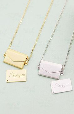 Mini envelope locket with I Love You message by earringsnation