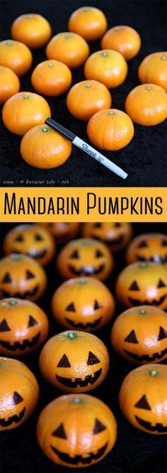 Une table terrifiante pour Halloween à faire avec les enfants. Rapide, facile et efficace : les clémentines citrouilles.