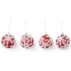 Winter Wonder Lane Red White Embossed Snowflake Round Ornaments,... ❤ liked on Polyvore featuring home, home decor, holiday decorations, snowflake ornaments, snow flake ornaments, round ornaments and red and white ornaments