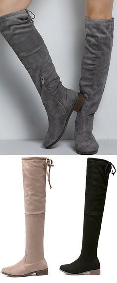 Fall Outfits With Gray Suedette Tied Back Thigh High Boots