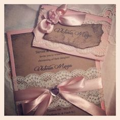 Weddbook ♥ Hand made things have an elegance of their own just like this distressed and stylised baptism invitation. In pale hues and with delicate lace and satin flowers, this invitation is a thing of beauty in itself Wedding Anniversary Invitations, Christening Invitations, Handmade Wedding Invitations, Quince Invitations, Shower Invitations, Invites, First Communion Cards, Ballerina Birthday, Girl Christening