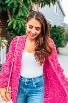 Hot pink cardigan /