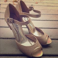"Glitter Nude Open-toe Heels Size 7. Good condition, only wore once! 3"" heel from base to tip. Perfect for homecoming, prom, any special occasion, or just a night out Shoes Heels"