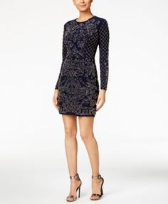 Xscape Beaded Long-Sleeve Bodycon Dress | macys.com THIS IS the DRESS, BUT IN PLUM!!