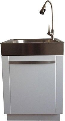 All In One Laundry Utility Sink Storage Cabinet Pull Out Faucet