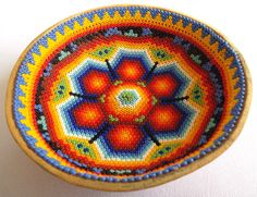 Mexican Huichol Beaded Peyote Sacred Gourd Bowl by Aramara on Etsy